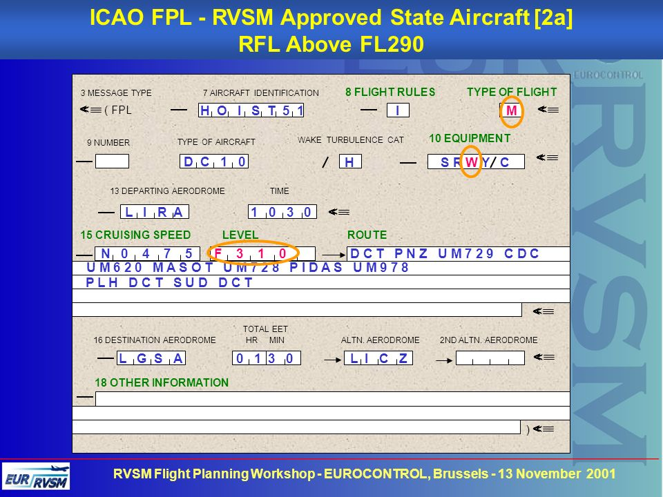 ICAO FPL - RVSM Approved State Aircraft [2a]